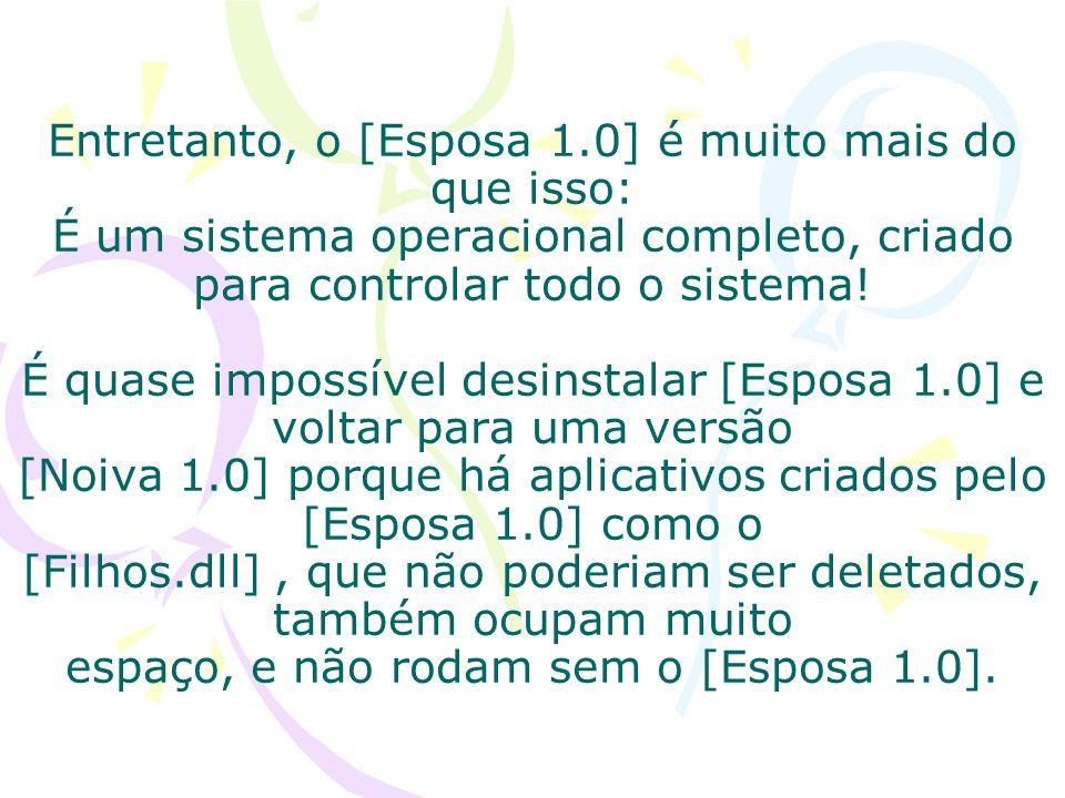 Entretanto, o [Esposa 1.0] é muito mais do que isso: É um sistema operacional completo, criado para controlar todo o sistema.